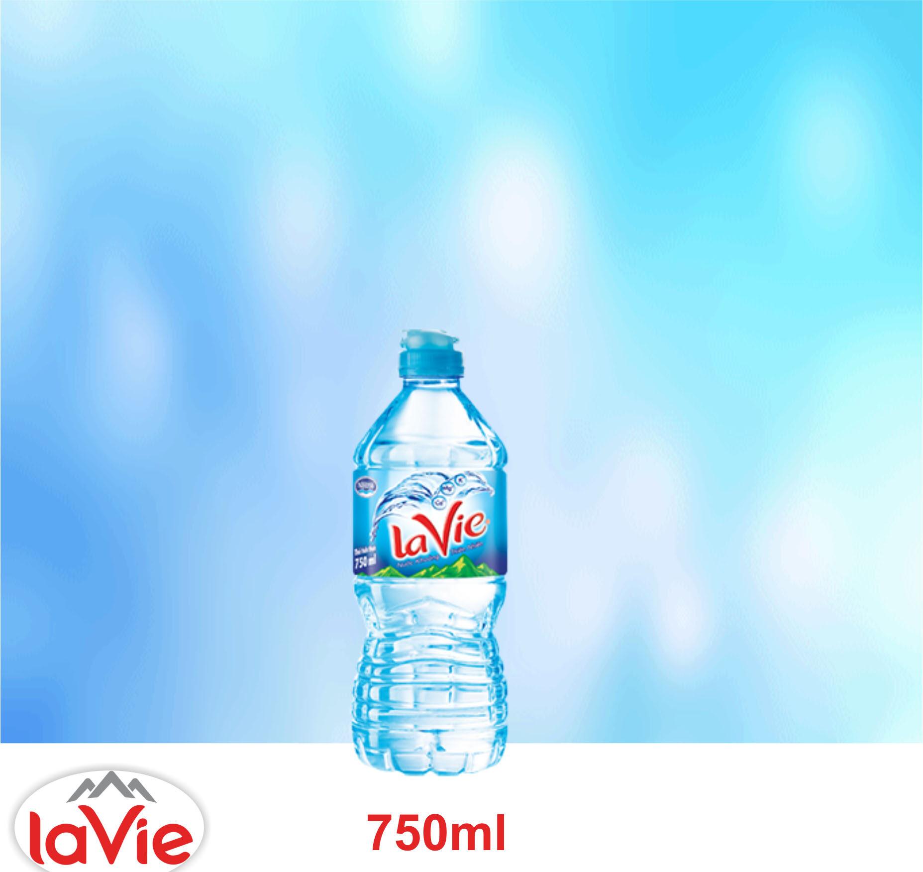 Nước suối LaVie 750ml, LaVie nắp thể thao tiện lợi giao hàng nhanh